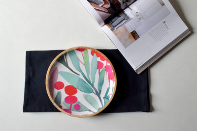 Nymeria Mango Wood Platter with Floral Pattern - Home Artisan_3