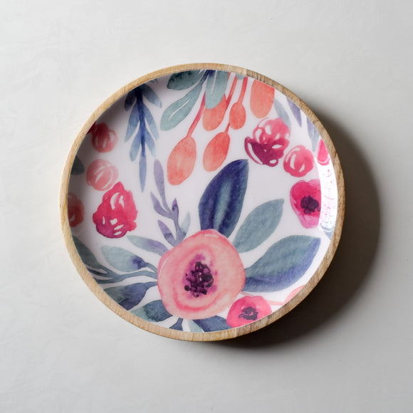 Priscilla Mango Wood Platter with Floral Pattern - Home Artisan