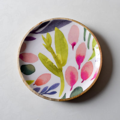 Marbela Mango Wood Platter with Floral Pattern - Home Artisan_2