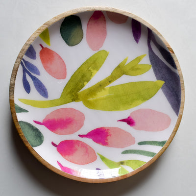 Marbela Mango Wood Platter with Floral Pattern - Home Artisan_3