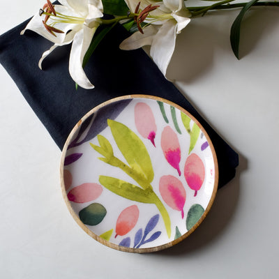 Marbela Mango Wood Platter with Floral Pattern - Home Artisan_4