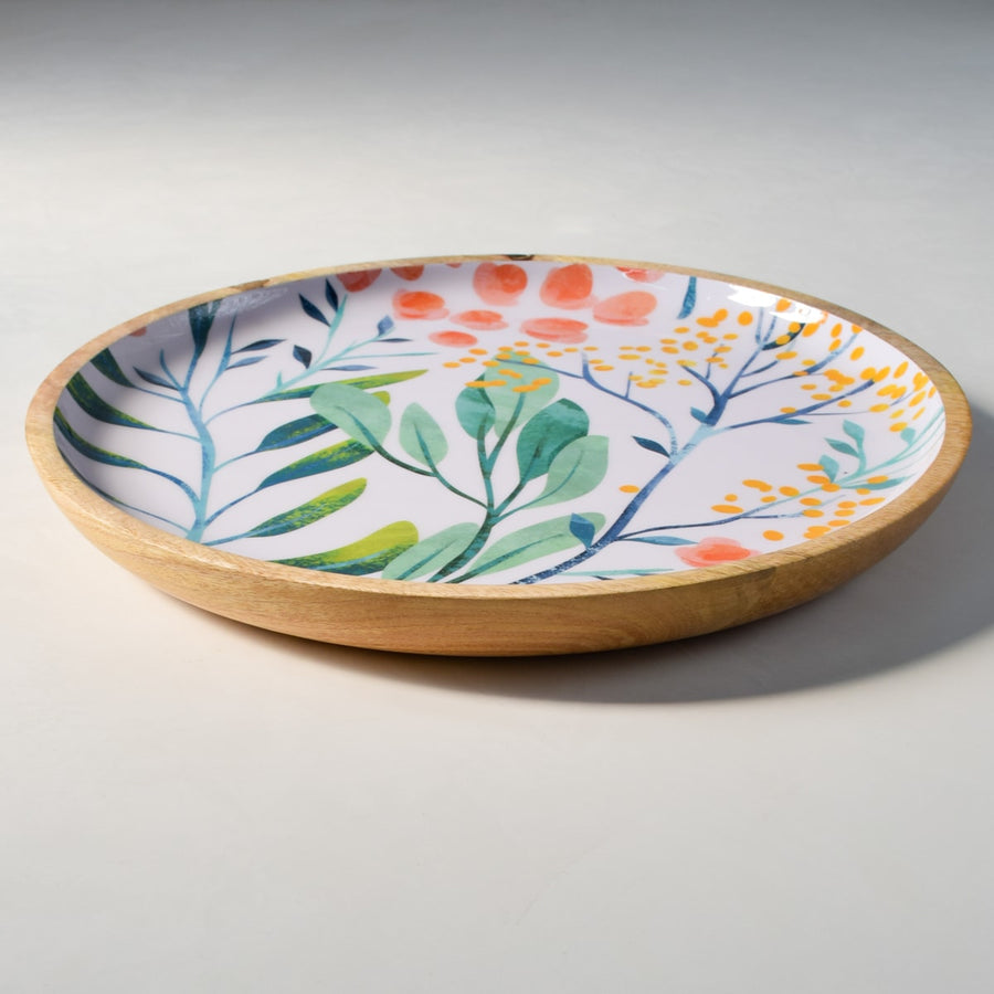 Serena Mango Wood Platter with Floral Pattern - Large