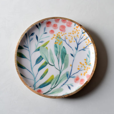 Serena Mango Wood Platter with Floral Pattern - Home Artisan_2