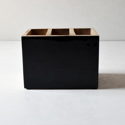 Claudia Mango Wood Cutlery Holder with Black Enamel - Home Artisan_3