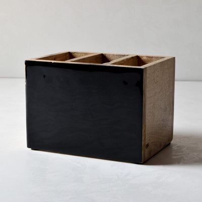 Claudia Mango Wood Cutlery Holder with Black Enamel - Home Artisan