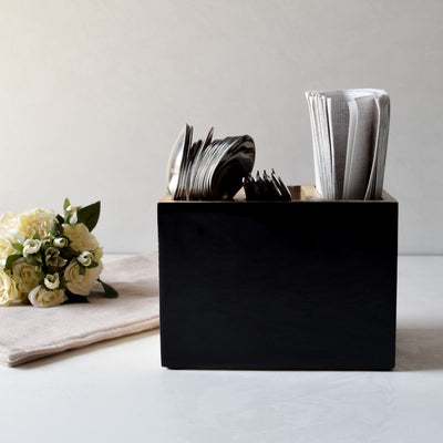 Claudia Mango Wood Cutlery Holder with Black Enamel - Home Artisan_1