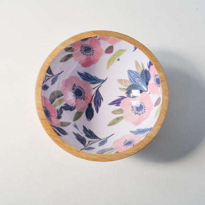 Sienna Mango Wood Bowl with Floral Pattern - Home Artisan