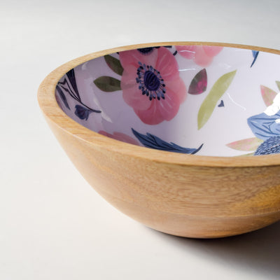 Sienna Mango Wood Bowl with Floral Pattern