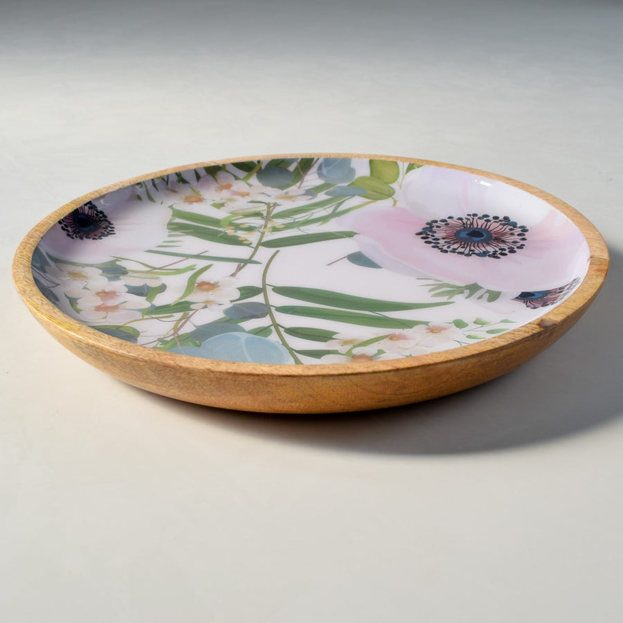Emily Mango Wood Platter with Floral Pattern