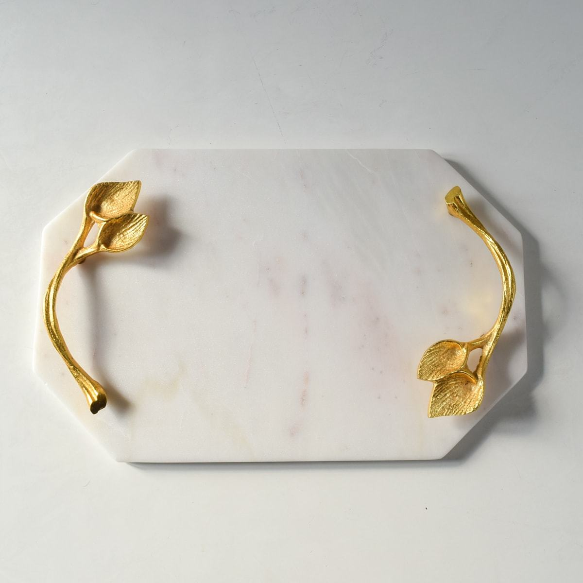 Grimora Marble Decorative Platter with Brass Handles