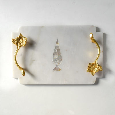 Marble Tray with MOP Cypress and brass handles - Home Artisan