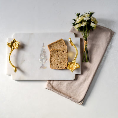 Marble Platter with MOP Cypress and Brass Handles