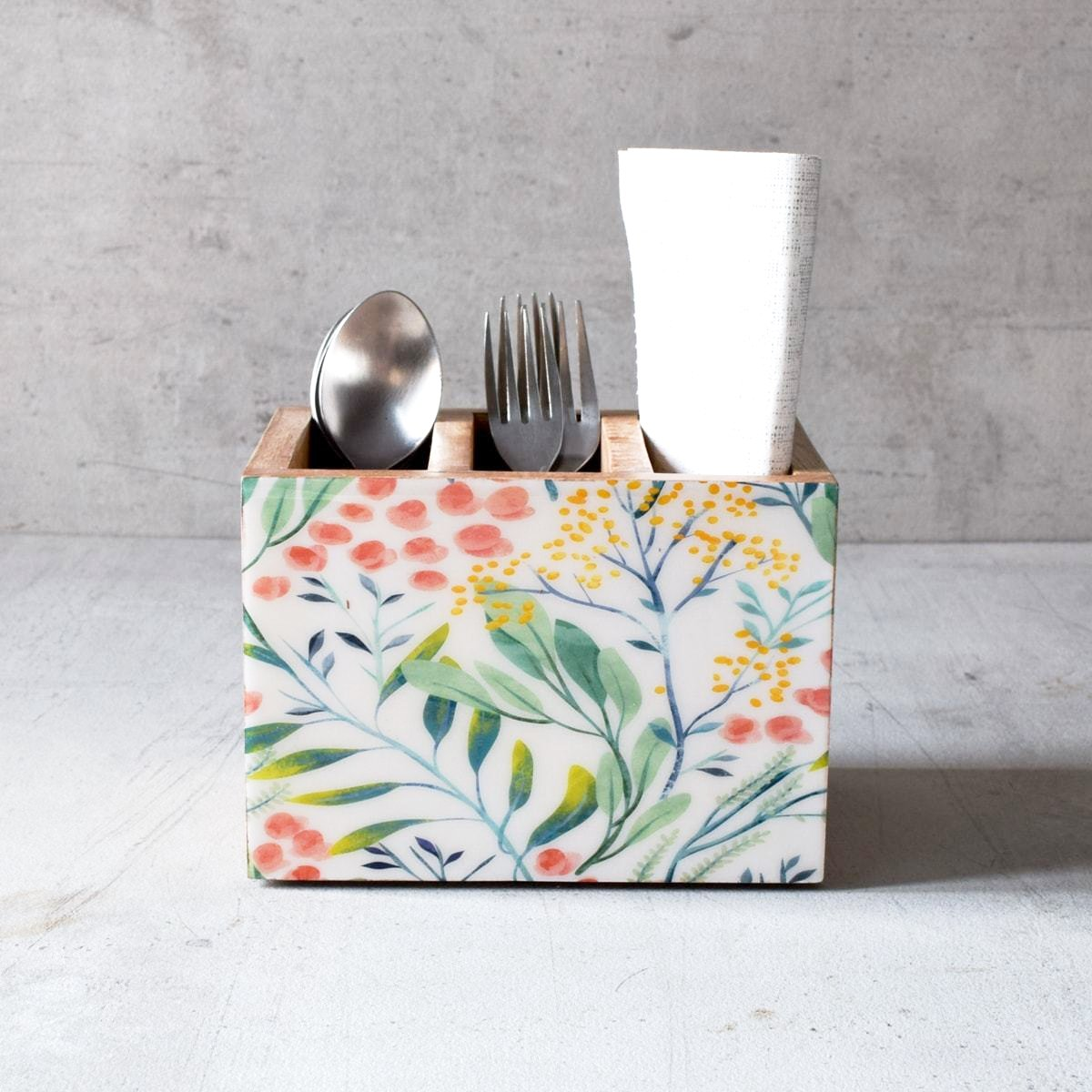 Serena Mango Wood Cutlery Holder