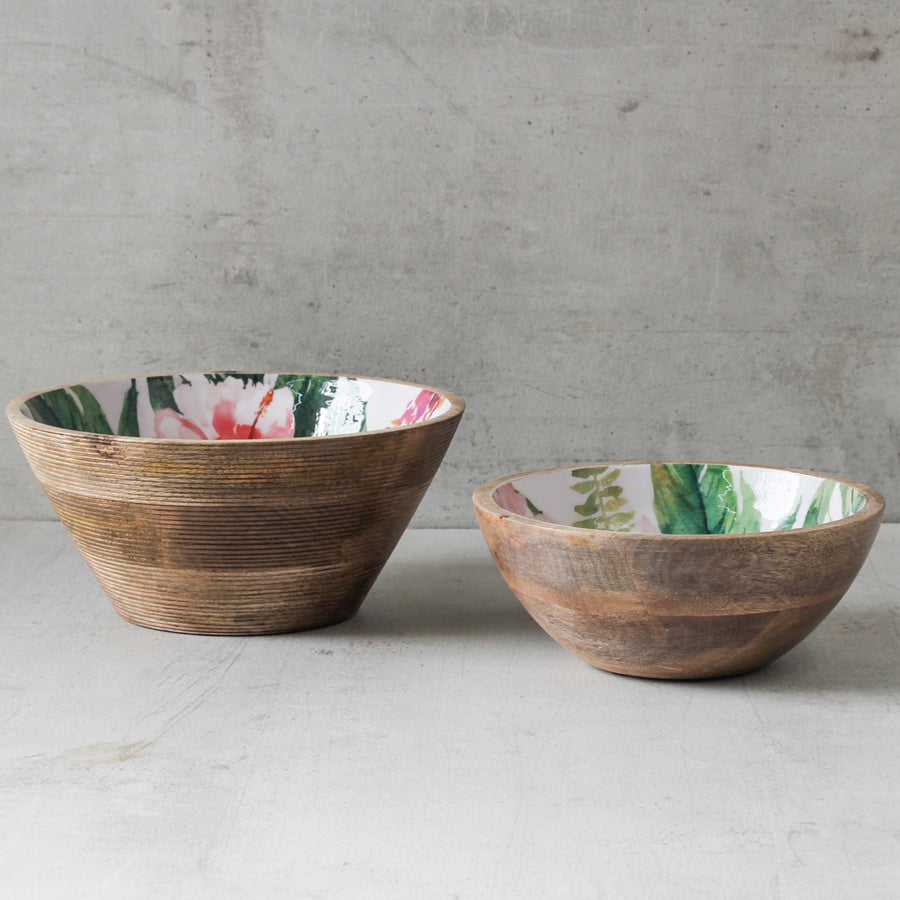 Alicia Mango Wood Bowl with Floral Pattern