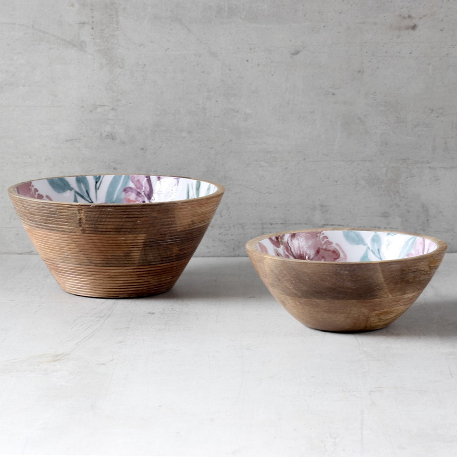 June Mango Wood Bowl with Floral Pattern
