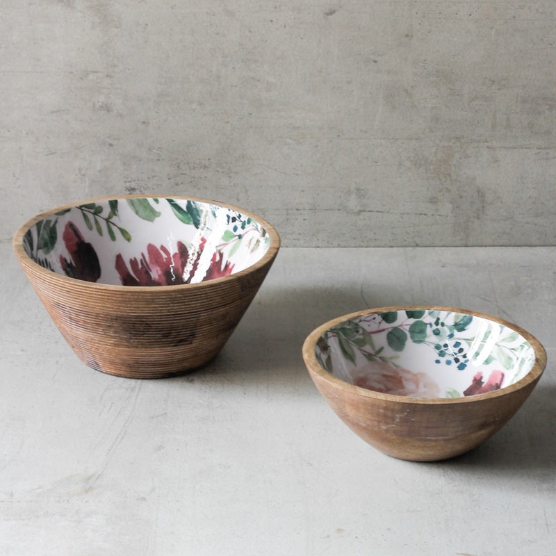 Miranda Mango Wood Bowl with Floral Pattern