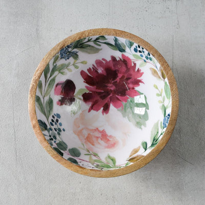 Alicia Mango Wood Bowl with Floral Pattern - Small - Home Artisan