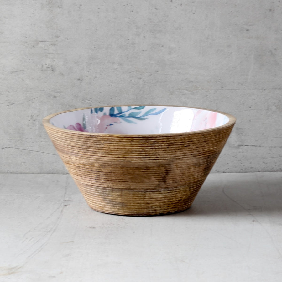 Cassandra Mango Wood Bowl with Floral Pattern - Large