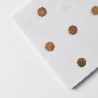 Kate Marble Platter with Brass Polka Dots
