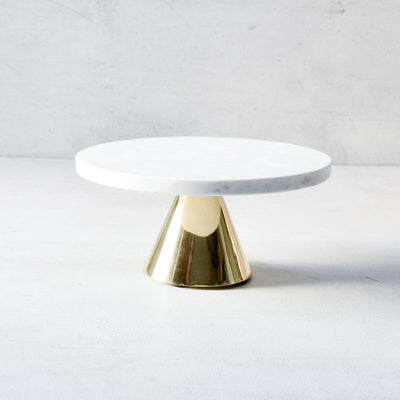 Harper Marble Server with Brass Stand