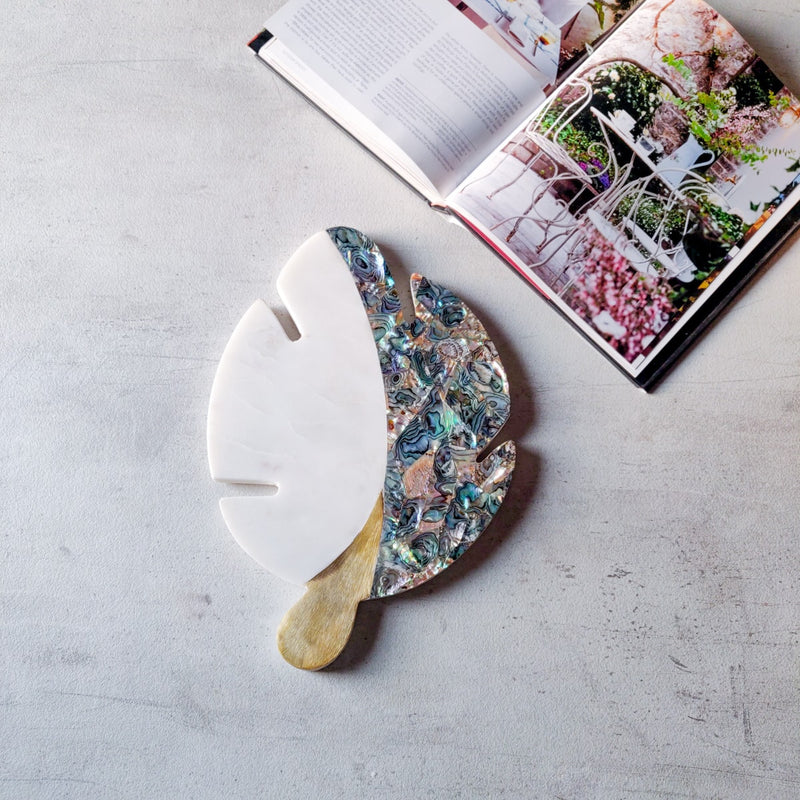 Bianca Marble Leaf Platter with Shell-Work