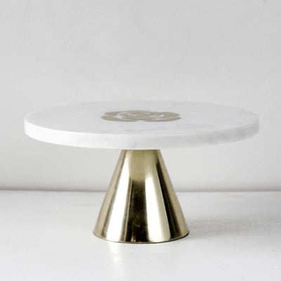 Rosa Marble Server with Brass Inlay - Home Artisan