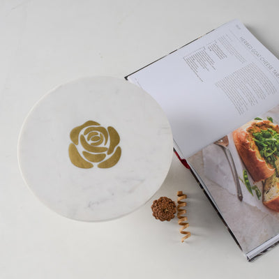 Rosa Marble Server with Brass Inlay