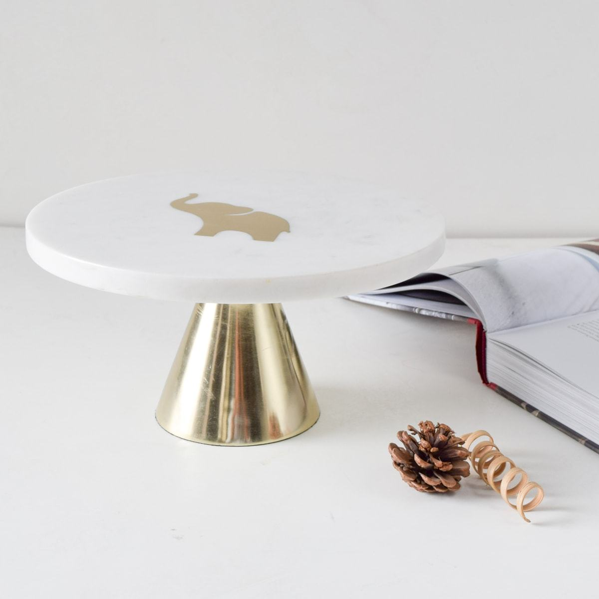 Ollie Marble Server with Brass Inlay