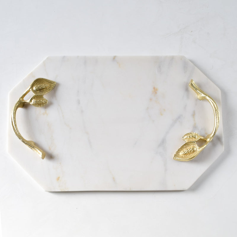 Keeves Marble Tray with Golden Leaf Handles - Home Artisan