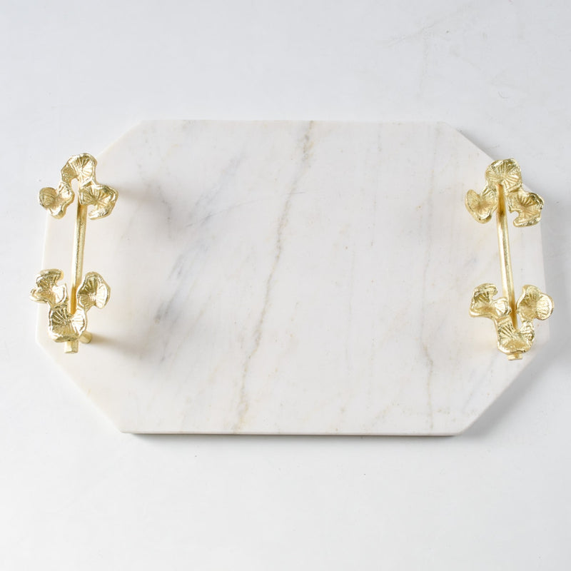 Kennesha Marble Tray with Golden Orchid Flower Handles - Home Artisan