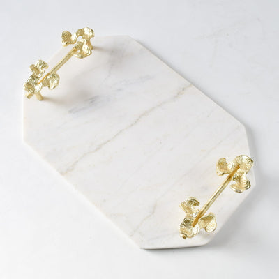 Kennesha Marble Tray with Golden Orchid Flower Handles