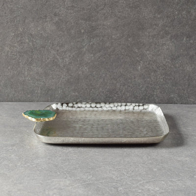 Metallic Silver Platter with Green Agate Stone