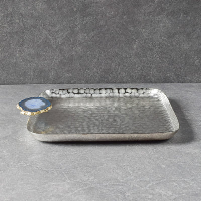 Metallic Silver Platter with Blue Agate Stone