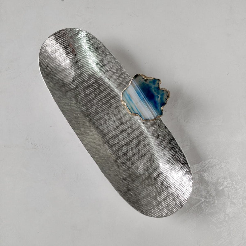 Metallic Silver Oval Platter with Blue Agate Stone