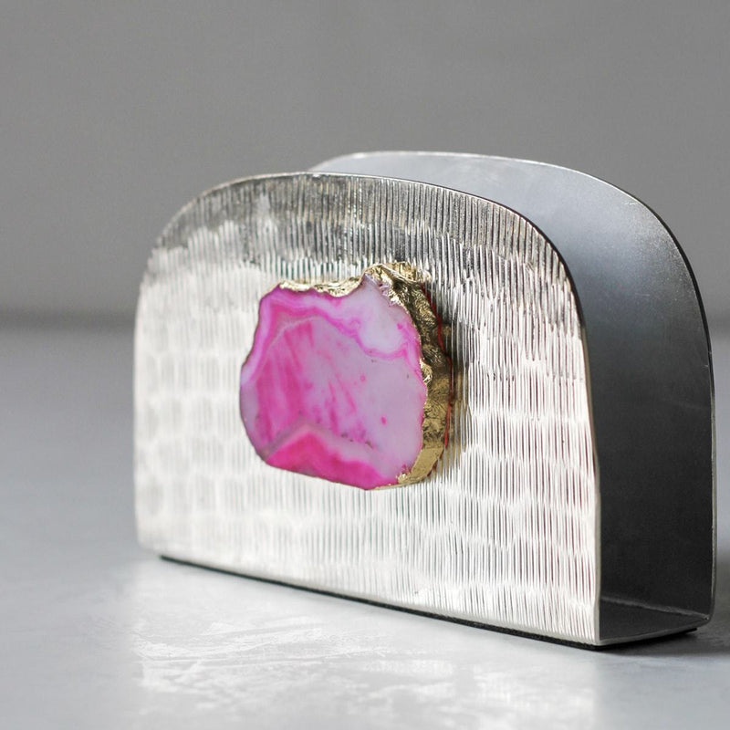 Metallic Silver Napkin Holder with Pink Agate Stone