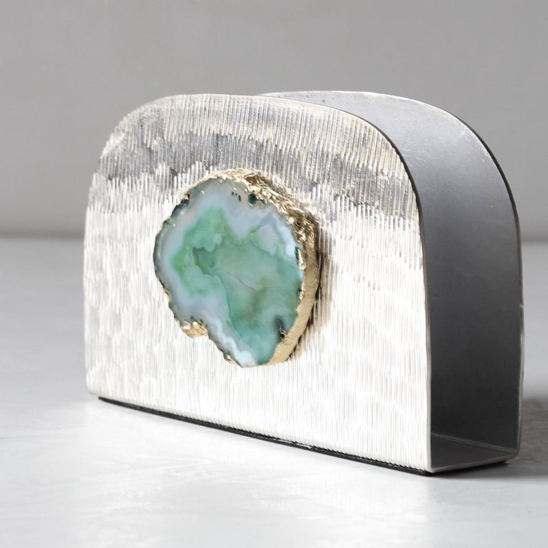 Metallic Silver Napkin Holder with Green Agate Stone