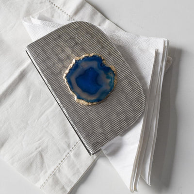 Metallic Silver Napkin Holder with Blue Agate Stone - Home Artisan