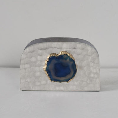 Metallic Silver Napkin Holder with Blue Agate Stone