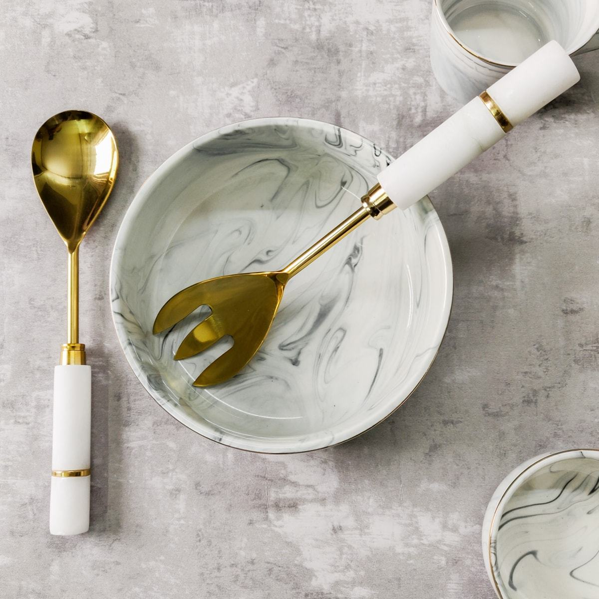 Irving Marble and Brass Serving Spoon and Spork Set