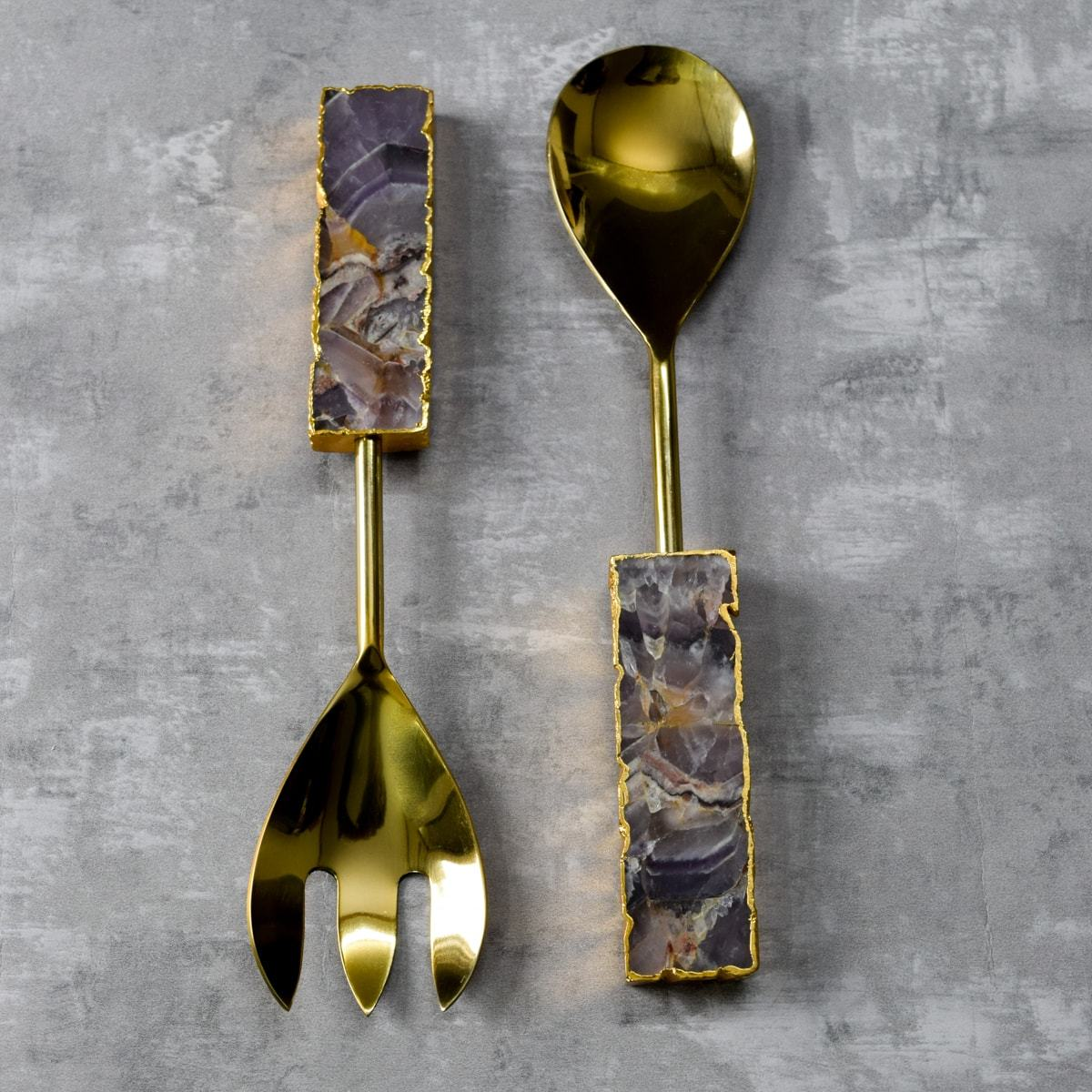 Daniel Amethyst Serving Spoon and Spork Set