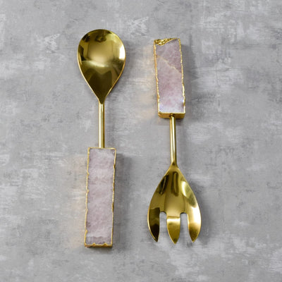 Daniel Rose Quartz Serving Spoon and Spork Set - Home Artisan
