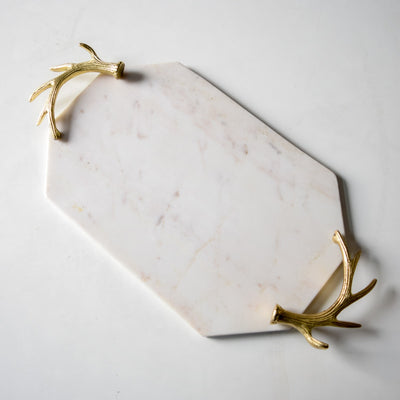 Blaine Marble Tray with Golden Antler Handles