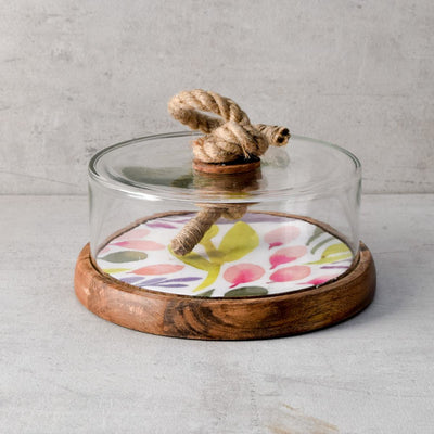 Marbela Mango Wood Base and Glass Dome Server - Home Artisan