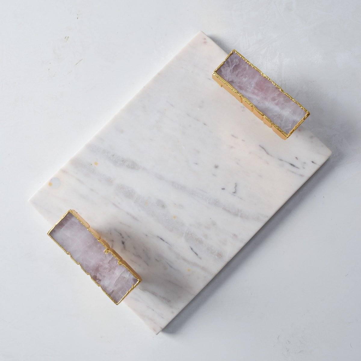 Anstead Marble Tray with Rose Quartz Handles  - Home Artisan