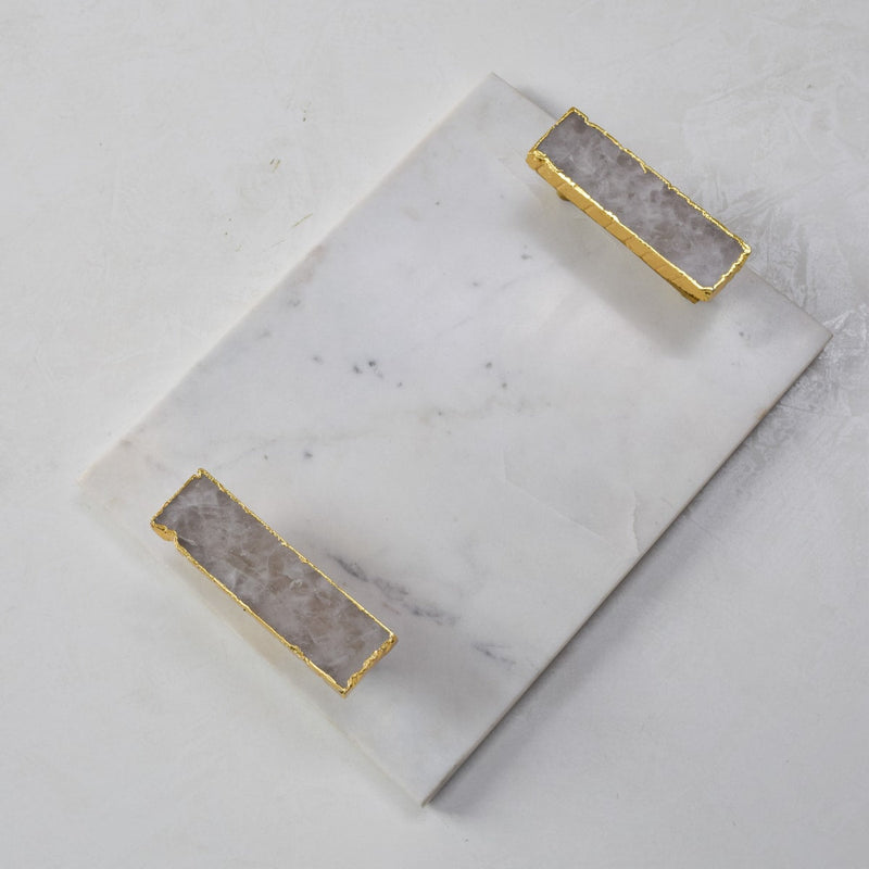 Anstead Marble Tray with White Quartz Handles  - Home Artisan