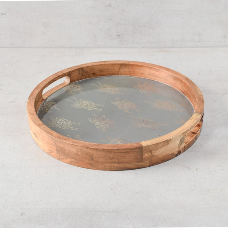 Shades of Dahlia Mango Wood Tray - Green - Home Artisan