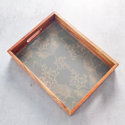 A Flight of Birds Mango Wood Tray - Home Artisan