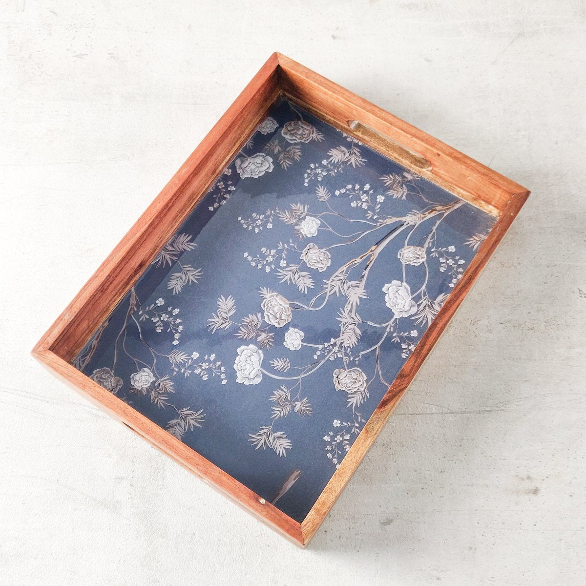 Midnight Garden Mango Wood Tray - Home Artisan