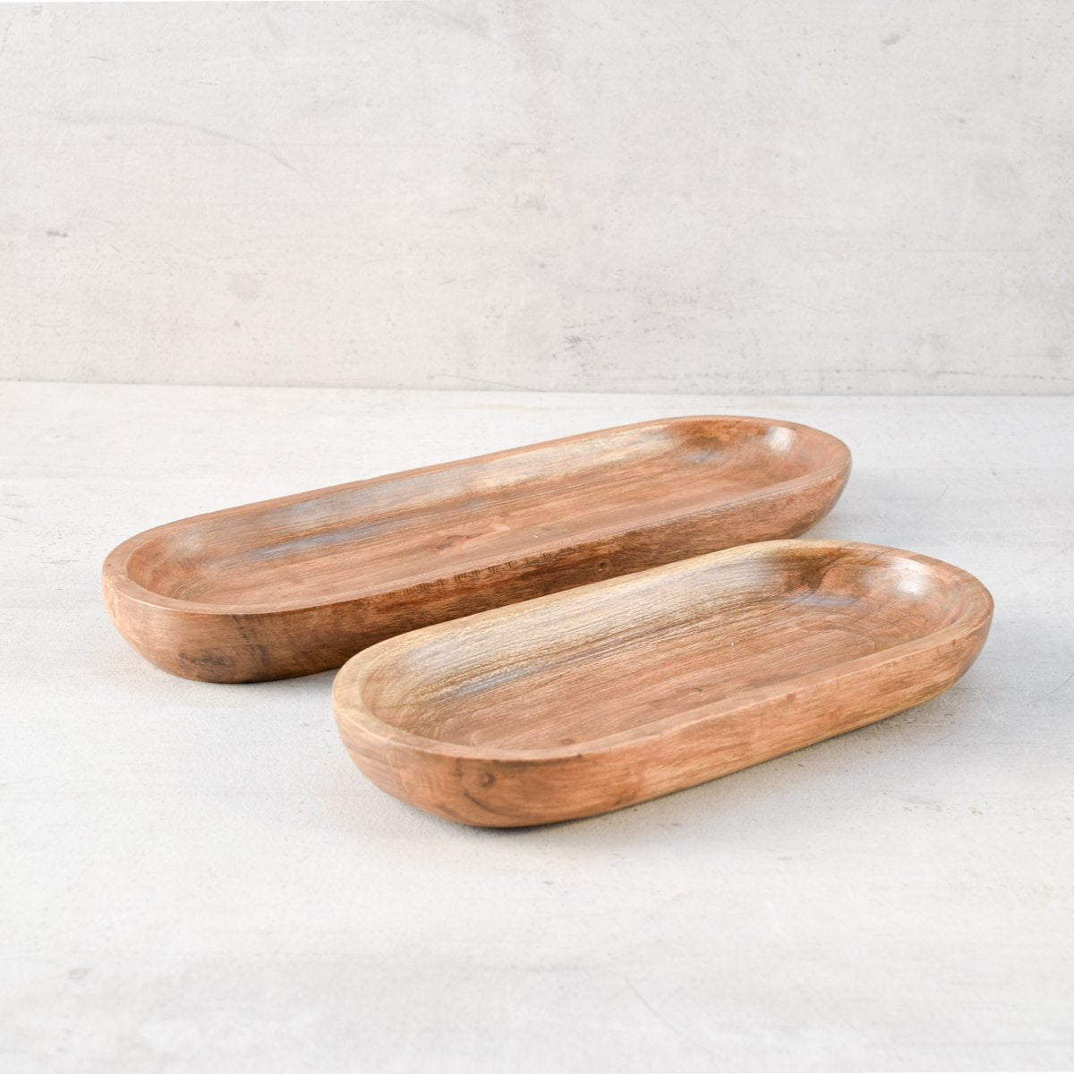 Mango Wood Oval Platters - Set of 2 - Home Artisan