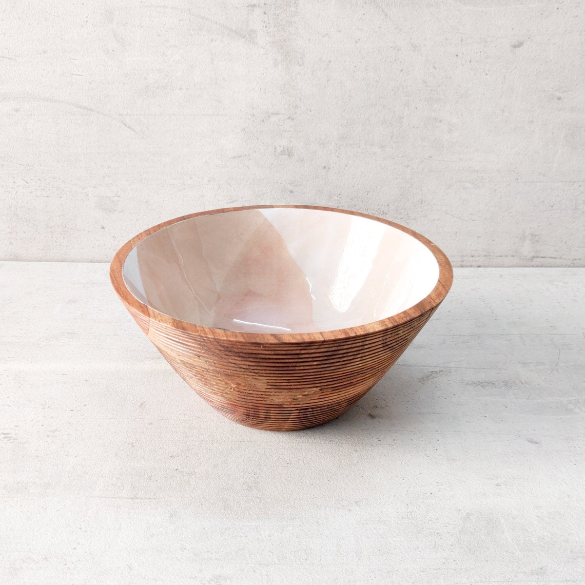 Terracotta Flower Mango Wood Bowl - Home Artisan